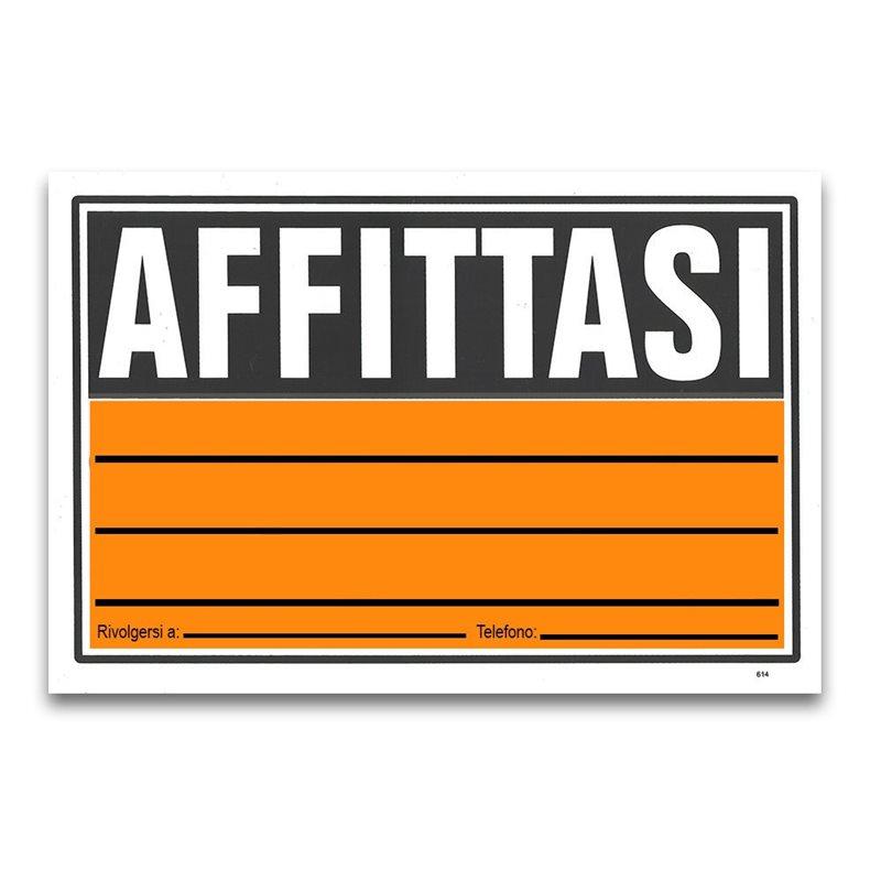 5 CARTELLI TARGA AFFITTASI RIVOLGERSI A NUMERO LOCALE ATTIVITA' PVC...