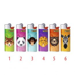 1 ACCENDINO BIC WILD ANIMAL GAS RICARICABILE REGULAR PIETRINA J25 VARI COLORI