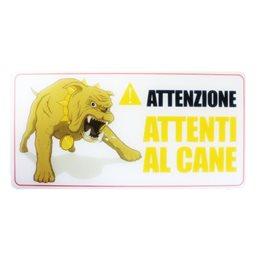 1 CARTELLO TARGA ATTENTI AL CANE BIADESIVO 3M PVC LUCIDO 20 x 10 CM