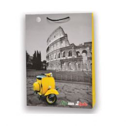 1 BORSA REGALO IN CARTA SACCHETTO CARTONCINO PLASTIFICATO SHOPPER VINTAGE ROMA VESPA 26 X 20 CM