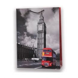 1 BORSA REGALO IN CARTA SACCHETTO CARTONCINO PLASTIFICATO SHOPPER VINTAGE LONDON BIG BEN 26 X 20 CM