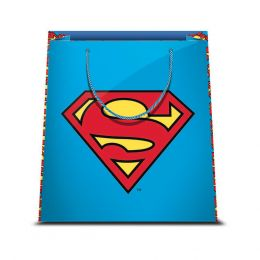 1 BORSA REGALO IN CARTA SACCHETTO CARTONCINO PLASTIFICATO SHOPPER DC COMICS SUPERMAN 1 31,5 X 45 CM