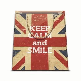 1 BORSA REGALO IN CARTA SACCHETTO CARTONCINO PLASTIFICATO CON CORDONCINO PLASTIFICATO SHOPPER KEEP CALM AND SMILE 31,5 X 45 CM