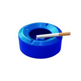 POSACENERE IN PLASTICA DA TAVOLO ASHTRAY 3 POSTI 11 CM ANTIVENTO ROTONDO BLU