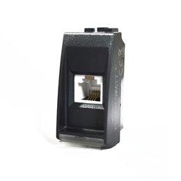 1 CONNETTORE RJ 11 TELEFONICO ELECTROWATT NERO COMPATIBILE BTCINO LIVING