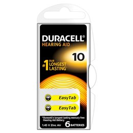 3 BATTERIE DURACELL EASY TAB 10 PR70 1.45 V SPECIALISTICHE GIALLE DA10N6