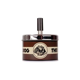 POSACENERE METALLO THE BULLDOG AMSTERDAM ASHTRAY SPIN TOP GIREVOLE LOGO NERO