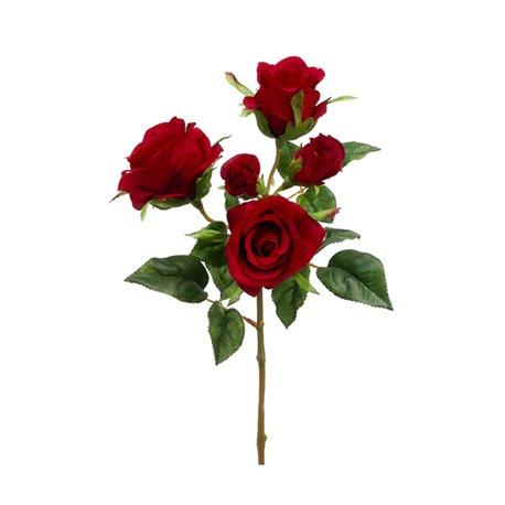 25 Fiori Artificiali Seta Mazzo Di 5 Rose Rosse Finte Decorazione F