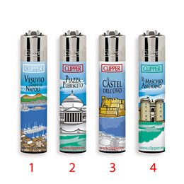 1 ACCENDINO CLIPPER GAS LARGE SOUVENIR NAPOLI MONUMENTI REGULAR VARI COLORI