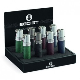ESPOSITORE ACCENDINI EGOIST TOWER IN METALLO PELLE RICARICABILE ANTIVENTO 8 PZ