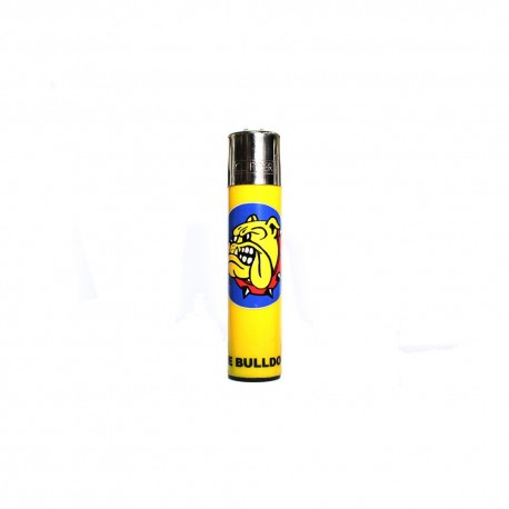 ACCENDINO CLIPPER A GAS THE BULLDOG AMSTERDAM RICARICABILE LOGO GIALLO ROMA