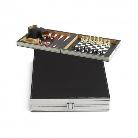 GAME SET IMPERIA JUEGO KIT SCACCHI E BACKGAMMON MAGNETICI CON BICCHIERI E DADI