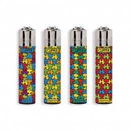 4 ACCENDINI CLIPPER A GAS LARGE PUZZLE RICARICABILE REGULAR VARI COLORI