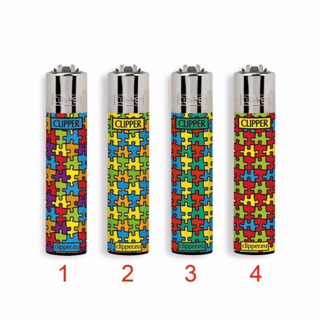 1 ACCENDINO CLIPPER A GAS LARGE PUZZLE RICARICABILE REGULAR VARI COLORI