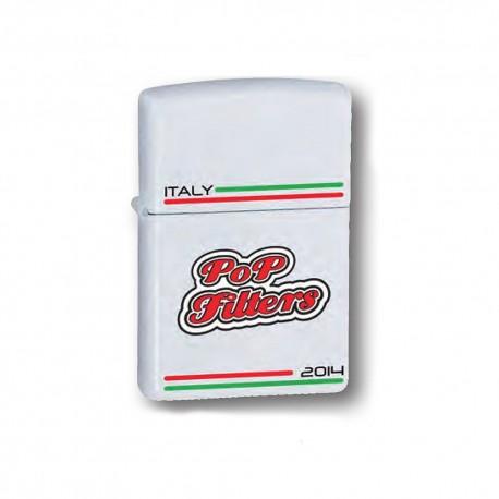 ACCENDINO ZIPPO ANTIVENTO A BENZINA LIGHTER POP FILTERS ITALY WHITE 14C003