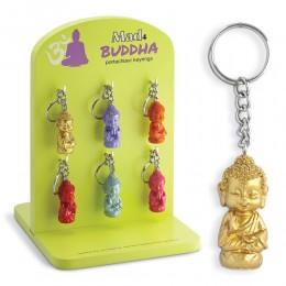 1 PORTACHIAVI MAD4 BUDDHA CINESE 3D CON ANELLO BRISE PORTA FORTUNA COLOR ORO