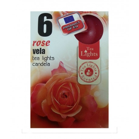 6 T-LIGHT CANDELE TEALIGHT ESSENZA NATURALE 4 CM CANDELA PROFUMATA ROSE