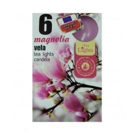 6 T-LIGHT CANDELE TEALIGHT ESSENZA NATURALE 4 CM CANDELA PROFUMATA MAGNOLIA