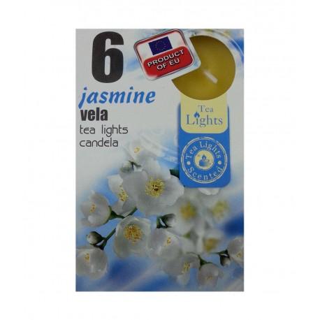 6 T-LIGHT CANDELE TEALIGHT ESSENZA NATURALE 4 CM CANDELA PROFUMATA JASMINE