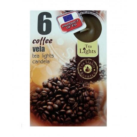 6 T-LIGHT CANDELE TEALIGHT ESSENZA NATURALE 4 CM CANDELA PROFUMATA CAFFE'
