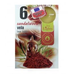 6 T-LIGHT CANDELE TEALIGHT ESSENZA NATURALE 4 CM CANDELA PROFUMATA SANDALO