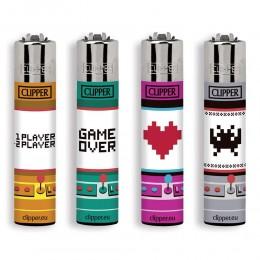 4 ACCENDINI CLIPPER GAS LARGE GAMES 7 RICARICABILE GRANDE VARI COLORI