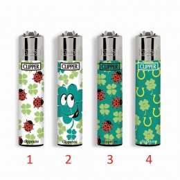 4 ACCENDINI CLIPPER GAS LARGE FORTUNA 3 RICARICABILE GRANDE VARI COLORI