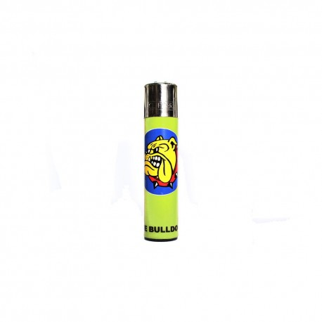 ACCENDINO CLIPPER A GAS THE BULLDOG AMSTERDAM RICARICABILE LOGO GIALLO FLUO