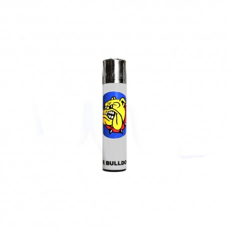 ACCENDINO CLIPPER GAS THE BULLDOG AMSTERDAM RICARICABILE LOGO BIANCO FLUO