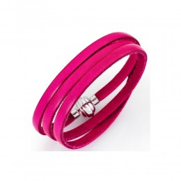 BRACCIALE UOMO DONNA UNISEX AMEN COLLECTION PELLE FUCSIA POLSINO 54 CM