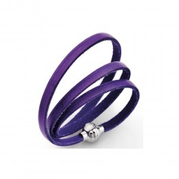 BRACCIALE UOMO DONNA UNISEX AMEN COLLECTION PELLE VIOLA POLSINO 54 CM