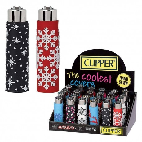 1 ACCENDINO CLIPPER A GAS POP XMAS REGULAR RICARICABILE GOMMATO GRANDE NATALE