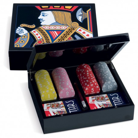 GAME SET POKER JUEGO LANCILLOTTO 100 FICHES CHIPS TEXAS HOLDEM 2 MAZZI CARTE