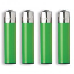 1 ACCENDINO CLIPPER A GAS LARGE VERDE GREEN CLASSICO RICARICABILE