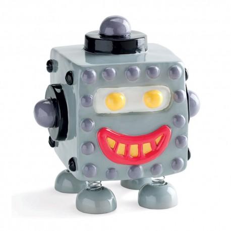 SALVADANAIO MONETE CHILLING TIME ROBOT 1 IN RESINA MOLLEGGIANTE CON MOLLE