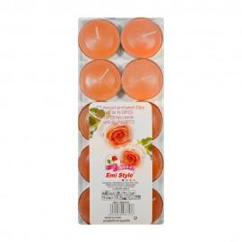 10 T-LIGHT CANDELE TEALIGHT ESSENZA NATURALE 4 CM PROFUMATA CANDELA ROSA ROSE