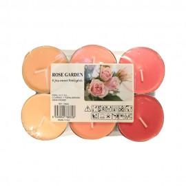6 T-LIGHT CANDELE TEALIGHT ESSENZA NATURALE 6 CM CANDELA PROFUMATA ROSA ROSE