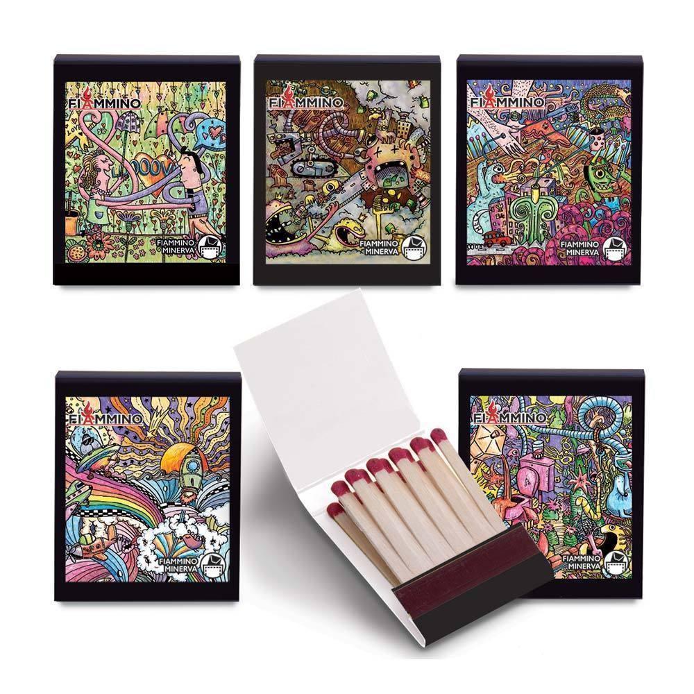 Collezionista Di Scatole Fiammiferi 100 fiammiferi fiammino minerva doodle 5cm 5 scatole tascabili da c