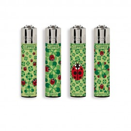 4 ACCENDINI CLIPPER A GAS LARGE HELLO SPRING COCCINELLE RICARICABILE REGULAR VARI COLORI