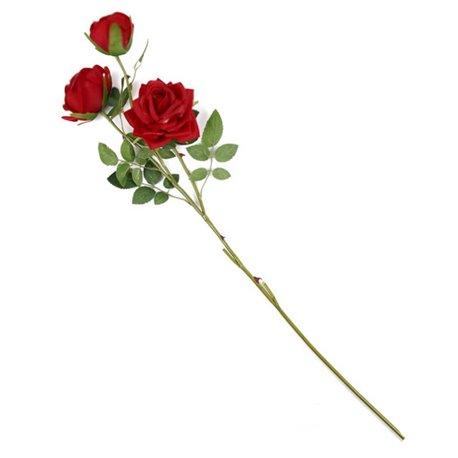 1 Fiori Artificiali Seta Tris Mazzo Di Rose Rosse Finte Decorazione