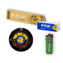 THE BULLDOG 495 CARTINE LUNGHE BROWN 500 FILTRI CARTA BLU ACCENDINO POSACENERE