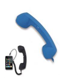 CORNETTA TELEFONO DAKOTA RETRO' VINTAGE RICEVITORE MICROFONOALTOPARLANTE SMARTPHONE BLU