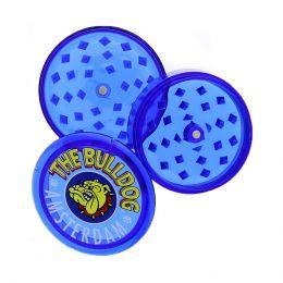 GRINDER PER TABACCO THE BULLDOG IN PLASTICA BLU 3 PARTI TRITATABACCO GR00082